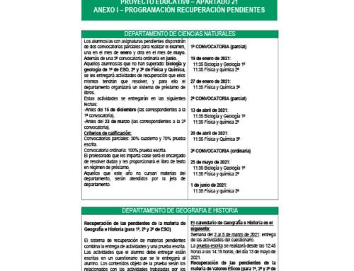 PROGRAMA DE RECUPERACIÓN DE PENDIENTES. CURSO 2020/21